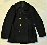 VTG 1940s WWII US NAVY CLOTHING FACTORY WOOL PEA COAT! CORDUROY LINED POCKETS! S