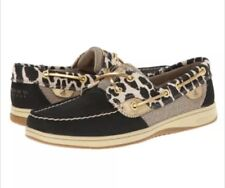New Sperry Bluefish Black Leopard Shimmer Size 5.5 M Women's Boat Shoes