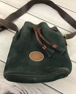 Vtg DOONEY & BOURKE Green Suede Leather Drawstring Bucket Shoulder Bag USA Rare