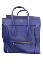 CELINE MINI LUGGAGE TOTE PEBBLED LEATHER BLUE