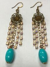 Vintage Gold Tone Earrings With Rhinestone And Turquoise Color Dtop
