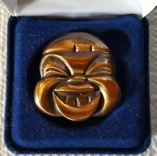 """Antique/Vtg JAPANESE LAUGHING MAN 1.5"""" COPPER FACE-Head BROOCH/Pin"""