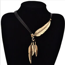 1X Vintage Bronze Rope Chain Feather Pendant Choker Chunky Statement Necklace- S
