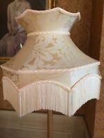 Victorian Vintage Traditional Downton Abbey Gold Silk Brocade  Fringe Lampshade