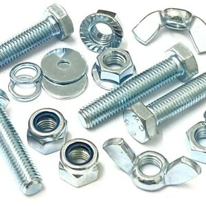 M12 FULLY THREADED BOLTS NUTS OR WASHERS HIGH TENSILE ZINC PLATED SCREWS BZP