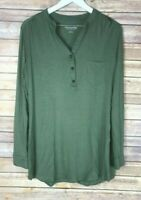 SOFT SURROUNDINGS Womens' Long Sleeve Henley Green Shirt Size Large