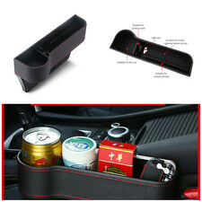 2Pcs Black Universal PU Leather Car Seat Gap Storage Box /Coin Box Cup Holder