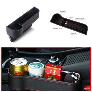 2Pcs Black Universal PU Leather Car Seat Gap Storage Box /Coin Box Cup Holder