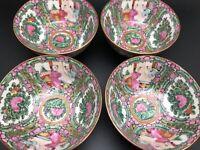 "FAMILLE ROSE Y.T. China Set 4 Hand-Painted Porcelain 4"" Bowls; Hong Kong (RF972)"