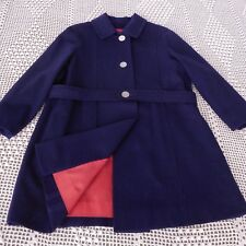 Vintage 1950's Girls Wool Coat, Size 6, Navy Blue w/ Pearlized Buttons — CUTE!!!