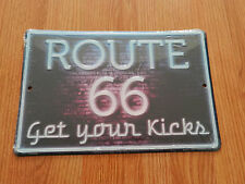 ROUTE 66 Get your Kicks Neon looking Style  - Metal Novelty Sign