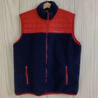 Vineyard Vines Boys Navy/Red Deep Pile Fleece/Puffer Vest. Size XL(18).