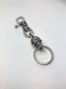 Solid 925 Silver Skull Keyring  Keychain Hallmarked