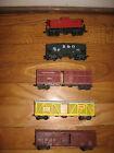 Lot of 5 train cars(tender, caboose, cattle) HO gauge-B&O,Missouri Pacific, etc