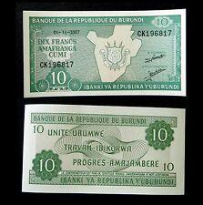 ★★ BURUNDI ● BILLET DE 10 FRANCS 2007 ● NEUF / UNC  ★★
