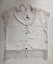 HELMUT LANG White Silk/Cotton Shirt/Top Size L 12/14 BNWT £225 Liberty London