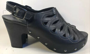Dansko Rowena Black Leather Slingback High Heel Open Toe Sandals Women's Sz 8.5