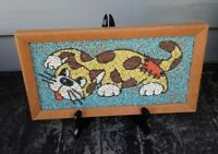 Vintage Mid-Century Playing Cat Gravel Pebble Multi Color Art Wall Hanging 13 x7