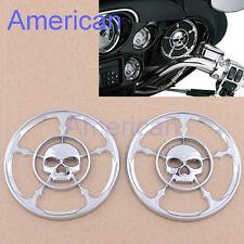 """4-1/2"""" Chrome Skull Speaker Trim Grill Cover For Harley Davidson Touring 96-13#"""