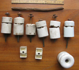 Lot of 8 Ceramic Insulators, nails, Cleats, Leather Washers, wire 1910 - 1920s