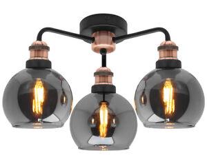 Modern Vintage Grey Glass Ceiling Light 3 Globe Shades Round Chandelier M0232