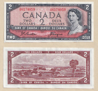 1954 $2 Bank of Canada Note Beattie Coyne Z/B 6174059 - EF/AU