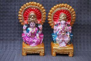 LORD GANESHA GANESH LAKSHMI LAXMI STATUE HANDMADE TEMPLE INDIAN DIWALI Puja Pair