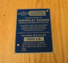 1956 57 CHEVY TRUCK GVW I.D. PLATE Gross Vehicle Weight Identification *USA MADE