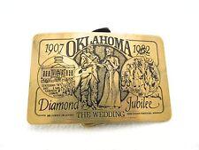 VTG The Leather Shoppe OK Oklahoma Diamond Jubilee 1907 - 1982 Brass Belt Buckle