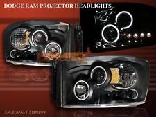 06 07 08 DODGE RAM 1500 2500 3500 TWO HALO CCFL LED PROJECTOR HEADLIGHTS BLACK