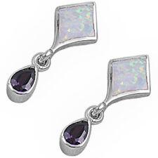 WHITE FIRE OPAL & AMETHYST  .925 Sterling Silver Earring