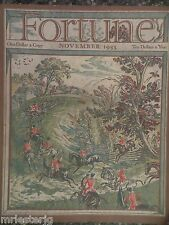 Fortune Magazine  November 1933  *Robert Ball Fox Hunt Cover* GREAT ADS