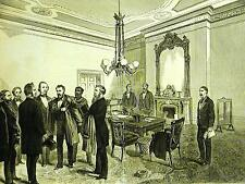 President Grant 2nd INAUGURATION WHITE HOUSE D.C. 1873 Antique Art Print Matted