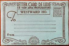 """Westward Ho! Letter Card De Luxe (6 View Sepia Photogravure) """"Solograph"""" Series"""