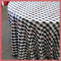 Round 90 inches Tablecloth Checker Polyester Buffalo Gingham Black woven 1''