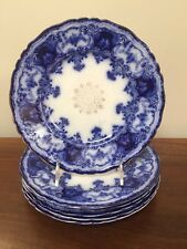 Antique John Maddock & Sons DAINTY FLOW BLUE Luncheon PLATES ~ Set of 6