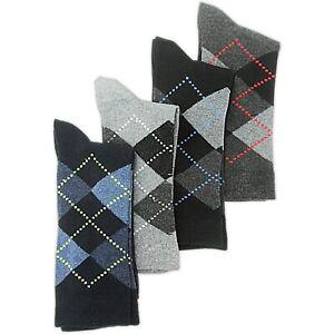 3/6 PAIRS MULTI-PACK MENS Argyle Diamond Patterned Dress Ankle Calf Socks SIZE