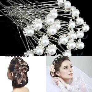 10pcs Bridal Crystal Diamante Rhinestone Flower Pearl Girls Hair Pins UK Seller