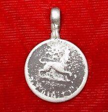 Antique Ethiopian Haile Selassie Silver Coin Protection Pendant Ethiopia, Africa