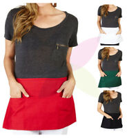 Half Bib Waist Apron Heavy Duty 3 Pocket Waitress Waiter Barista Workwear Unisex