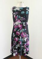 Soma Black Teal Pink Purple Abstract Floral Sleeveless Dress Size S