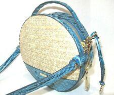 Brahmin Lane Lagoon Mantle Straw & Leather Round Canteen Crossbody Handbag $275