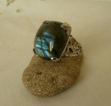 Traumhafter großer Labradorit Ring 925 Silber rohdiniert Gr. 18,4 - 58 eckig