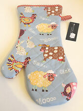 Gauntlet style Oven Glove Farmyard Design in Baby Blue  by Ulster Weavers 7FAR02