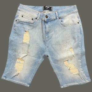 Mens Sik Silk Siksilk Skinny Stretch Ripped Rip Denim Shorts Blue MEDIUM W32 11
