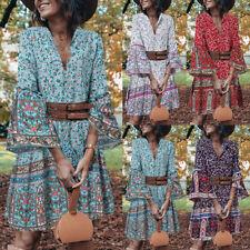 Женские Богемии летняя пляжная V-образным вырезом мини-платье/рубашка цветочный принт свинг сарафан