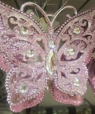 LARGE CHRISTMAS XMAS PINK SILVER GLITTERY BUTTERFLY TREE DECORATION BUTTERFLIES