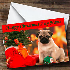 Pug Dog Xmas Personalised Christmas Greetings Card