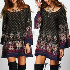 AU 8-24 Women Summer Floral Printed Ethnic Loose Long Tops Mini Shirt Sun Dress