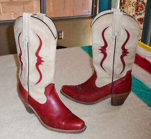 FRYE Leather Cowboy Boots CREAM/RED Benchcrafted Western Inlay Vtg USA sz 8.5 B